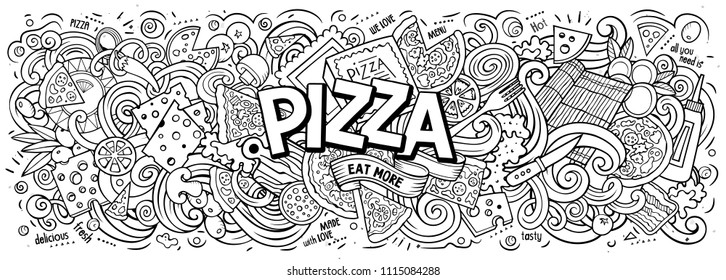 Cartoon cute doodles Pizza word. Colorful horizontal illustration. Background with lots of separate objects. Funny vector artwork