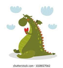 Cartoon cute Dragon character.