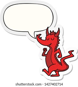 cartoon cute dragon with speech bubble sticker