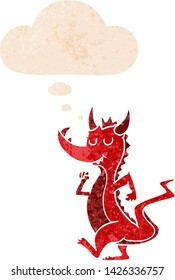 cartoon cute dragon with thought bubble in grunge distressed retro textured style