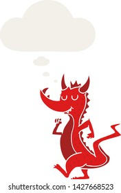 cartoon cute dragon with thought bubble in retro style
