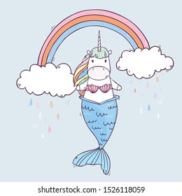 Cartoon cute drawing Unicorn Mermaid with rainbow clouds. Vector illustration isolated on background
