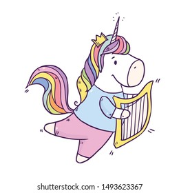 Cartoon cute drawing Unicorn playing music on harp. Vector illustration isolated on white background