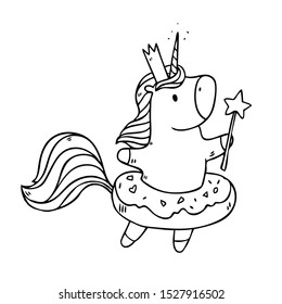 Cartoon cute drawing Unicorn princess with donut inflatable ring and magic wand. Vector illustration isolated on background