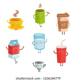 Cartoon cute drink characters isolated on white background. Cute happy mugs and containers of coffee or tea, milk and soda with funny faces. Vector illustration of cups with various beverages.