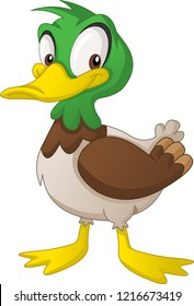Cartoon cute duck. Vector illustration of funny happy animal.