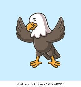 cartoon cute eagle vector illustration