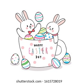 Cartoon cute Easter day rabbits and colorful eggs in a cup coffee vector.