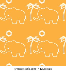 Cartoon cute elephant seamless pattern  Cute Elephant - Vector File .Palm tree and sun. White outline.