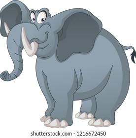 Cartoon cute elephant. Vector illustration of funny happy animal.