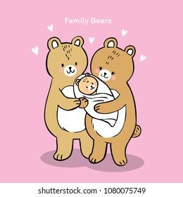 Cartoon cute family bears vector.