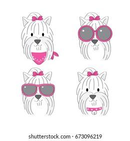 Cartoon cute fashion Yorkshire Terrier vector.