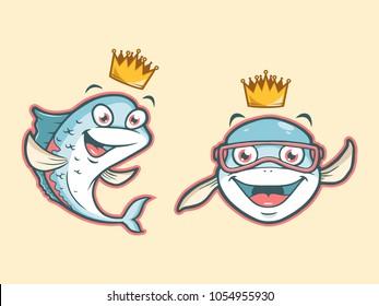 Cartoon Cute Fish Mascot Logo Designs.