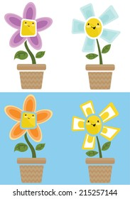 Cartoon cute flowers in pot - Vector clip art illustration on white background