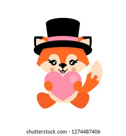 cartoon cute fox with heart and hat sitiing vector