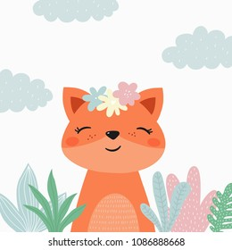 Cartoon cute fox illustration. Be wild, be brave