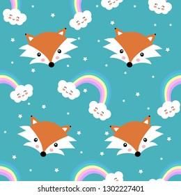 Cartoon cute fox and rainbow seamless pattern