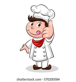 cartoon cute funny chef cook in the cap
