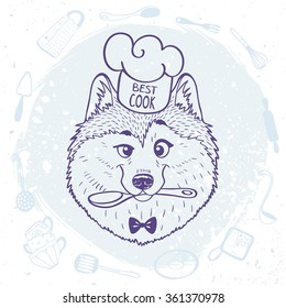Cartoon cute and funny dog husky in chefs hat holding a spoon in mouth. Vector illustration