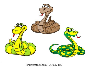 Cartoon cute funny snake characters set with python, boa, rattlesnake. Suitable for animal, kids illustration and wildlife