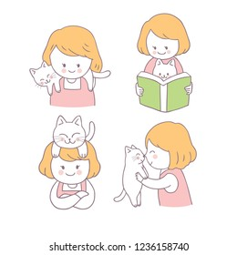 Cartoon cute girl and cat set vector