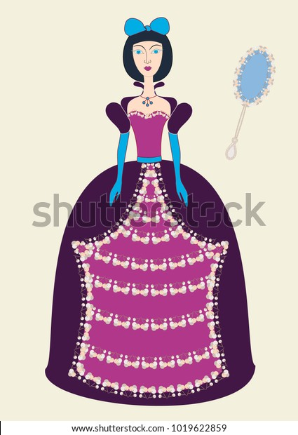 Cartoon Cute Girl Evening Dress Beautiful Stock Vector