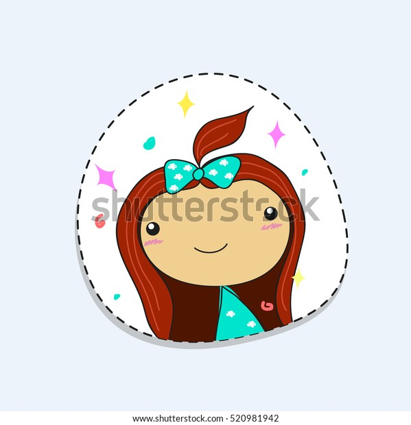 Cartoon Cute Girl Face Sticker Vector Stock Vector (Royalty Free