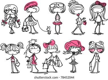 cartoon cute girl fashionista