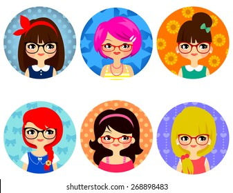 cartoon cute girls with glasses