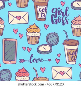Cartoon cute girl's stuffs seamless pattern. Very feminine with pretty elements. Perfect for wallpaper, wrapping paper, textile. Colored on blue background.