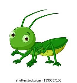 Cartoon cute grasshopper isolated on white background-vector art