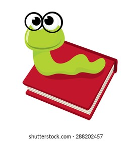 Cartoon cute green bookworm with thick black rimmed glasses, on top of a book vector illustration.