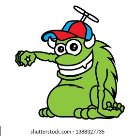 Cartoon cute green monster with horn wearing a cap. Monster hand holding pose. Halloween vector illustration