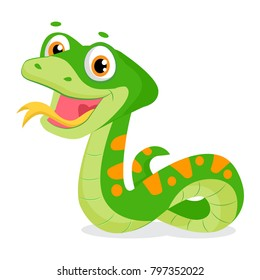 Cartoon Cute Green Smiles Snake Vector Animal Illustration. Cartoon Vector Reptile Isolated On White Background.