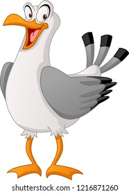 Cartoon cute gull. Vector illustration of funny happy seagull.