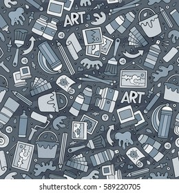 Cartoon cute hand drawn Art seamless pattern. Line art detailed, with lots of objects background. Endless funny vector illustration. Monochrome artist backdrop.