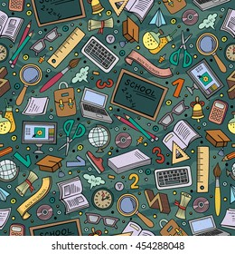 Cartoon cute hand drawn Back to school seamless pattern. Colorful detailed, with lots of objects background. Endless funny vector illustration. Bright colors backdrop with education items.