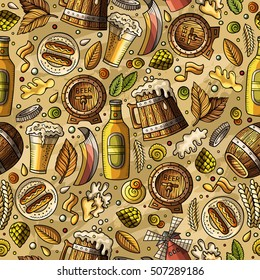 Cartoon cute hand drawn Beer fest seamless pattern. Colorful with lots of objects background. Endless funny vector illustration