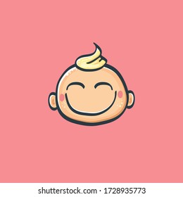 Cartoon cute hand drawn funny boy face isolated on pink background, Cartoon happy children with funny hair. 1 june international childrens day background with little smiling baby boy icon or label