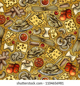 Cartoon cute hand drawn Italian food seamless pattern. Colorful with lots of objects background. Endless funny vector illustration