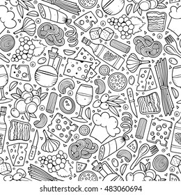 Cartoon cute hand drawn Italian food seamless pattern. Line art with lots of objects background. Endless funny vector illustration.