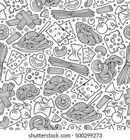 Cartoon cute hand drawn Italian food seamless pattern. Line art with lots of objects background. Endless funny vector illustration