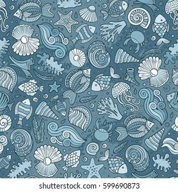 Cartoon cute hand drawn sea life seamless pattern. Monochrome detailed, with lots of objects background. Endless funny vector illustration.