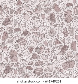 Cartoon cute hand drawn summertime seamless pattern. Monochrome detailed, with lots of objects background. Endless funny vector illustration. backdrop with summer food items.