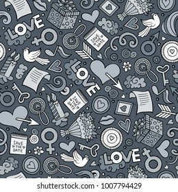 Cartoon cute hand drawn Valentine's Day seamless pattern. Illustration with lots of elements. Endless funny vector background
