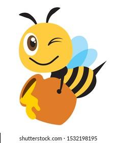 Cartoon cute happy bee carry a big honey pot fill with fresh organic honey - Flat art vector character
