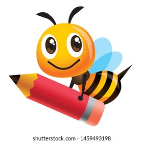 Cartoon cute happy bee mascot carrying a big red pencil - Vector illustration isolated