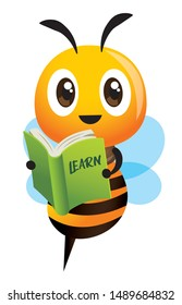 Cartoon cute happy bee mascot carrying a green learning book. Back to school - Vector illustration isolated