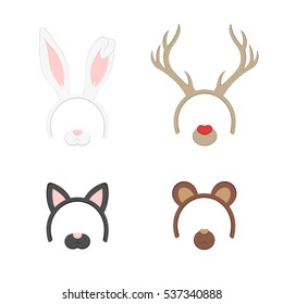 Cartoon Cute Headband with Ears Holiday Set. Rabbit, deer, cat, bear. Flat Design Style. Party Mask Vector illustration