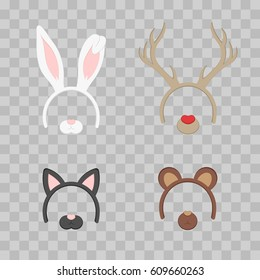 Cartoon Cute Headband with Ears Holiday Set isolated on transparent checkered. Rabbit, deer, cat, bear. Flat Design Style. Party Mask Vector illustration